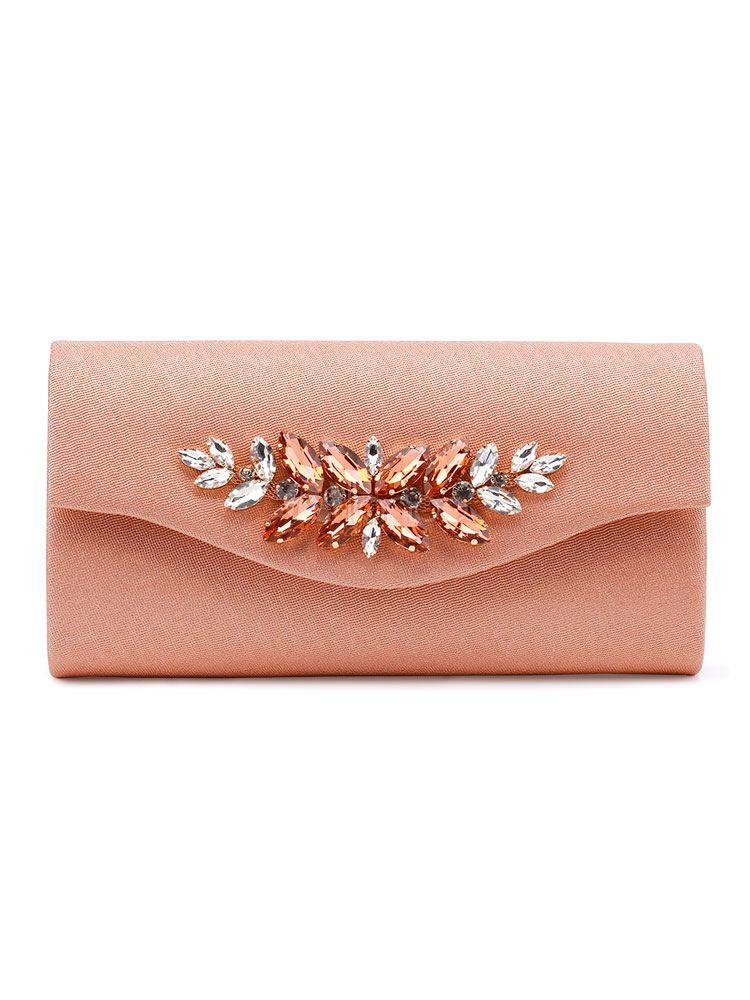 4319f663b Evening Handbags Apricot Envelope Rhinestones Beaded PU Wedding Clutch Bag