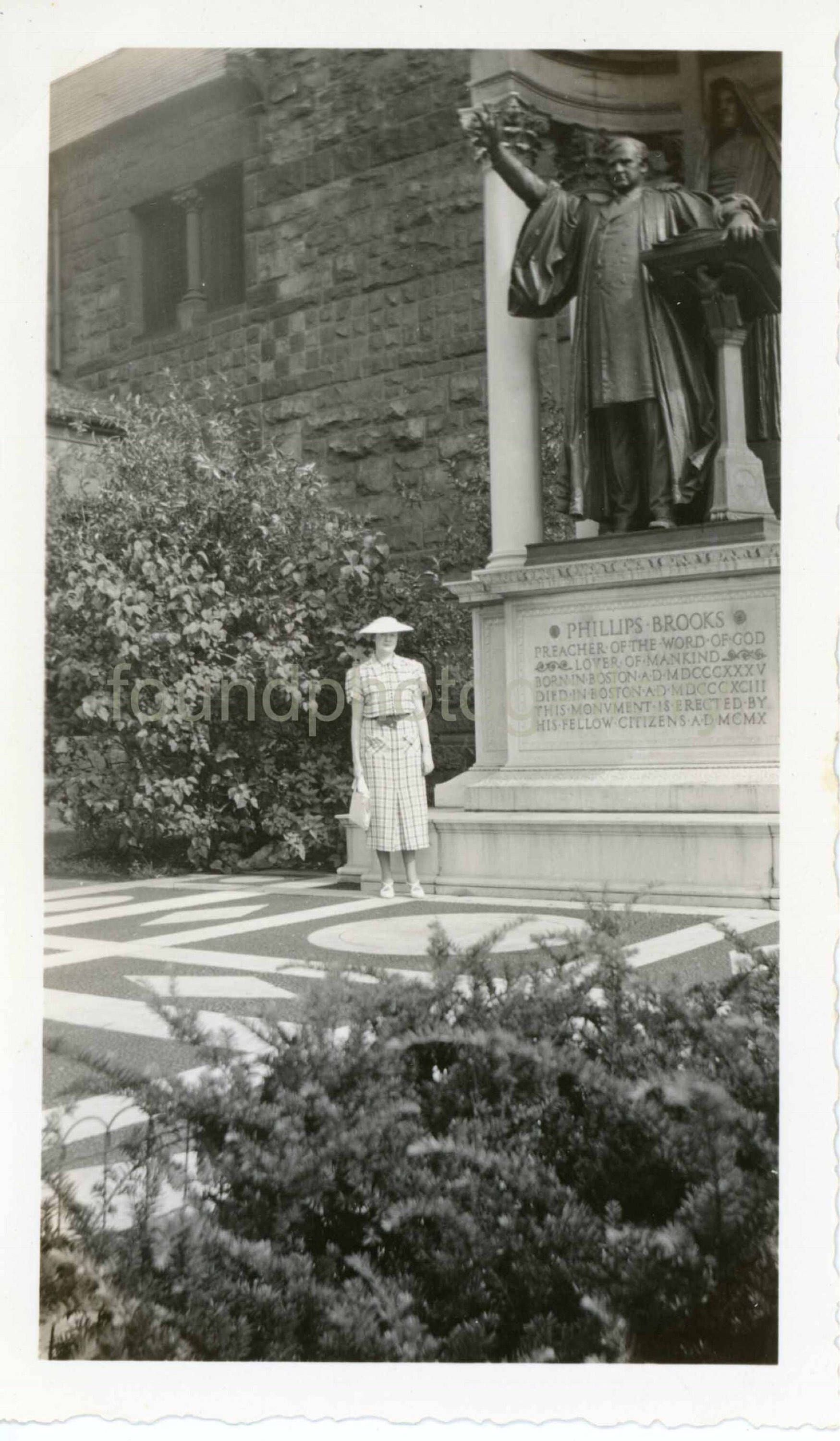Available for sale in my etsyshop vintagephoto photoofwoman in front of trinitychurch bostonma 1930sfashion travelphoto snapshot blackwhitephoto