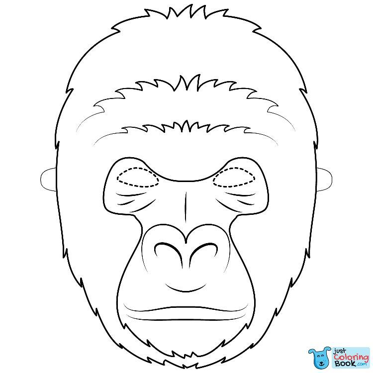 Gorilla Mask Coloring Page Free Printable Coloring Pages Intended