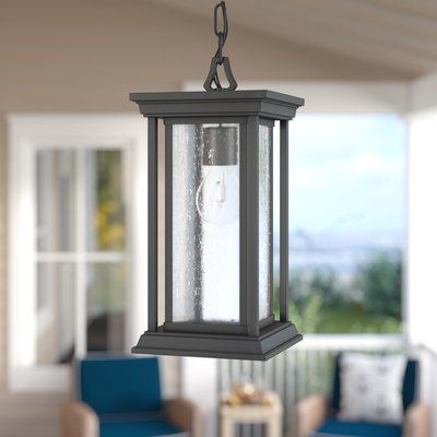 "Darby Home Co Samanda Black 1 -Bulb 15.25"" H Outdoor Hanging Lantern | Wayfair"