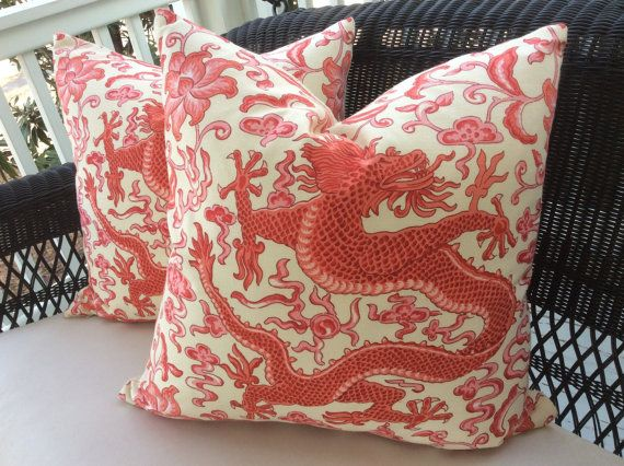Scalamandre Pillow Cover in Chien Dragon Coral and Cream Linen, Coordinating Cream Woven Backing