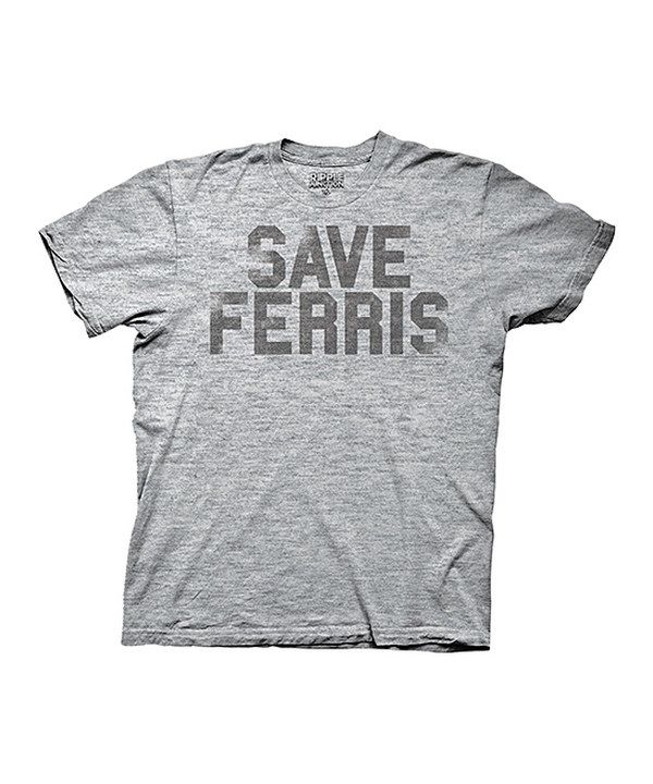 Ferris Bueller/'s Day Off Save Ferris Adult Mens Heathered Grey T-Shirt Tee