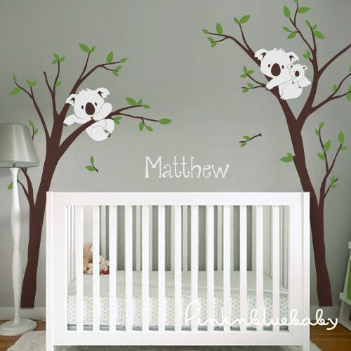 Koalas On Tree and custom name Removable wall decals, Wall decals