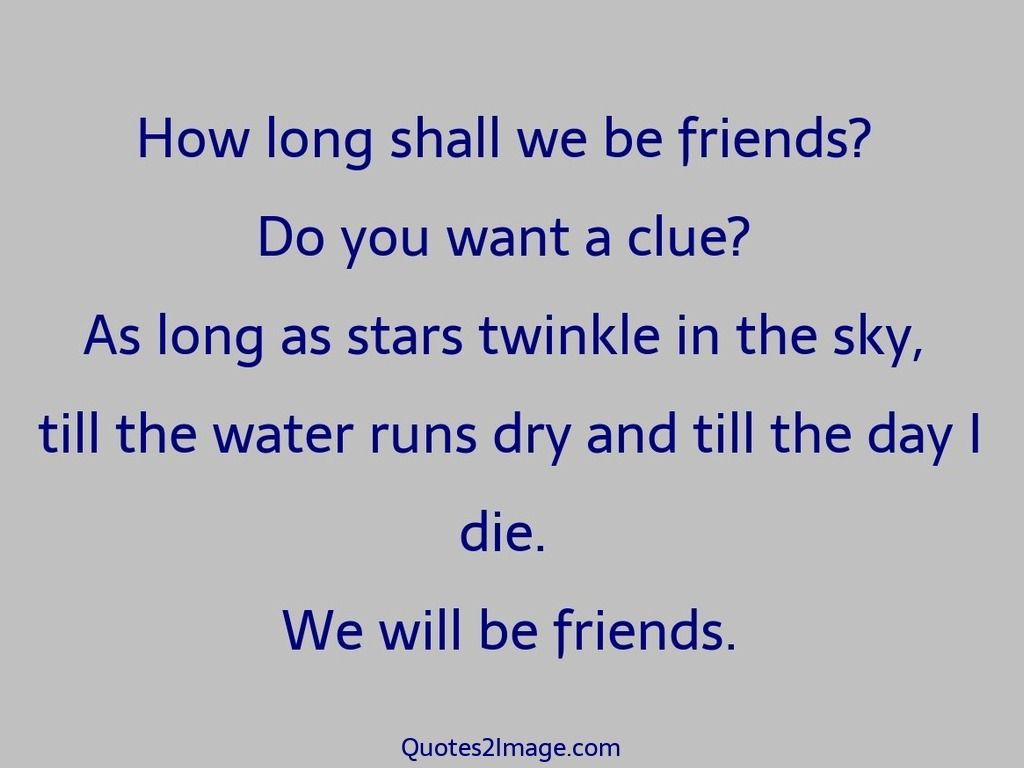 Long Quotes About Friendship How Long Shall We Be Friends Do You Want A Clue As Long As Stars