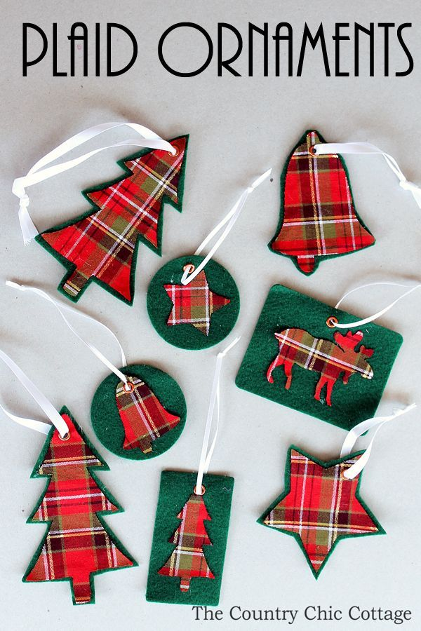 Make Your Own Plaid Ornaments Plaid, Ornament and Tutorials