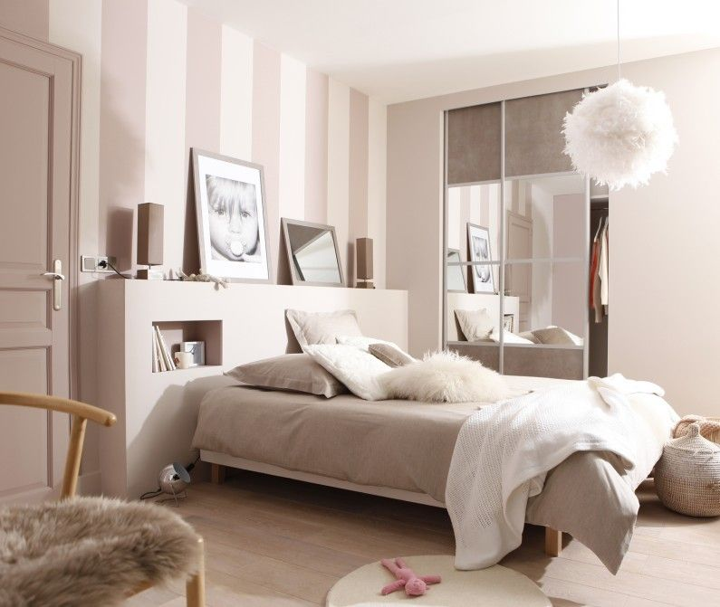 Chambre adulte blanc beige naturel spaceo charme for Chambre parentale taupe