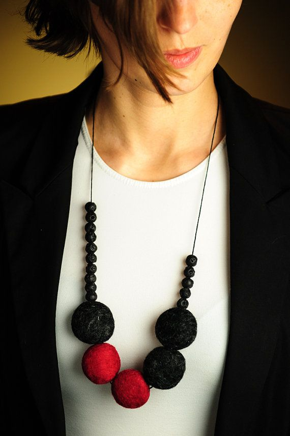 Photo of Items similar to Statement Felted Necklace Beadwork Necklace Felt Bead Jewelry Oxblood Red Black Autumn Fashion on Etsy