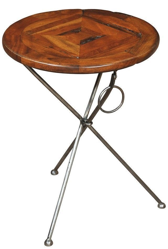 Martini Side Table Parquet Top Made From Old Wood Iron Base Free Shipping New Traditional
