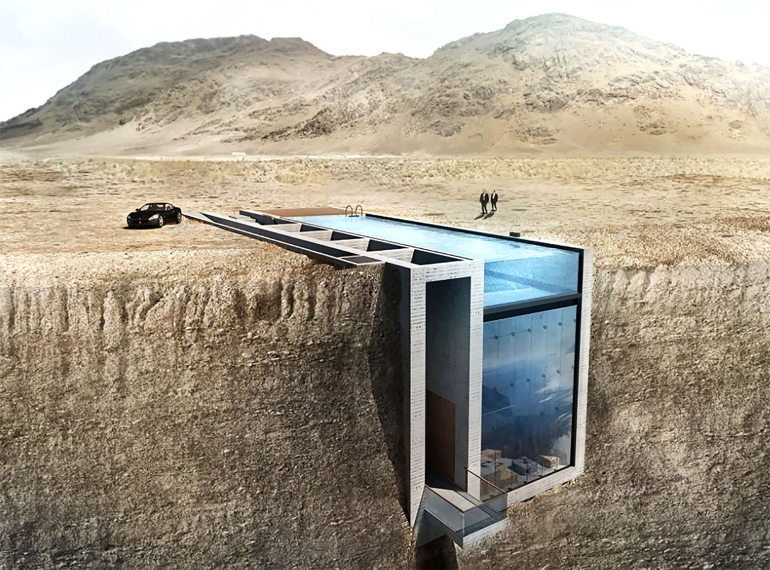 Crazy Swimming Pools opa's crazy concrete home carved into a coastal cliff has a