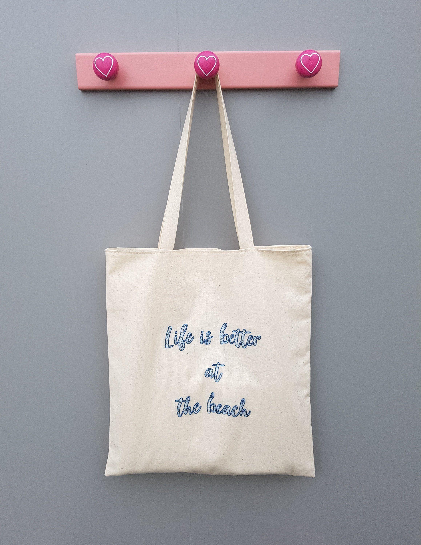 fae2e3da8eddbe Canvas Tote Bag, Large Summer Hand Embroidered Beach Bag, Best Friend Gift  Idea