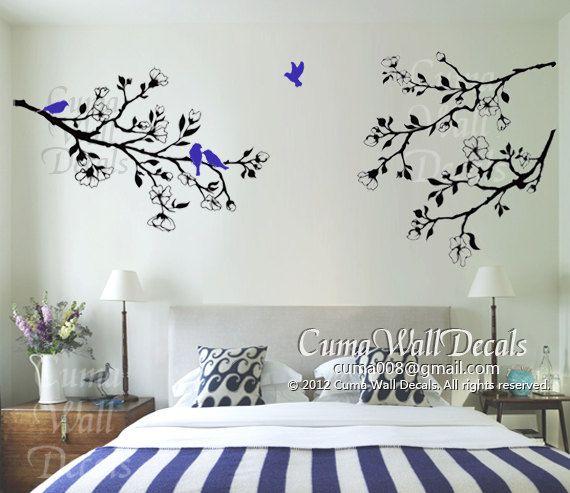 Nature Tree Vinyl Wall Decals Branch Birds Wall Decals By Cuma - Nursery bird wall decals