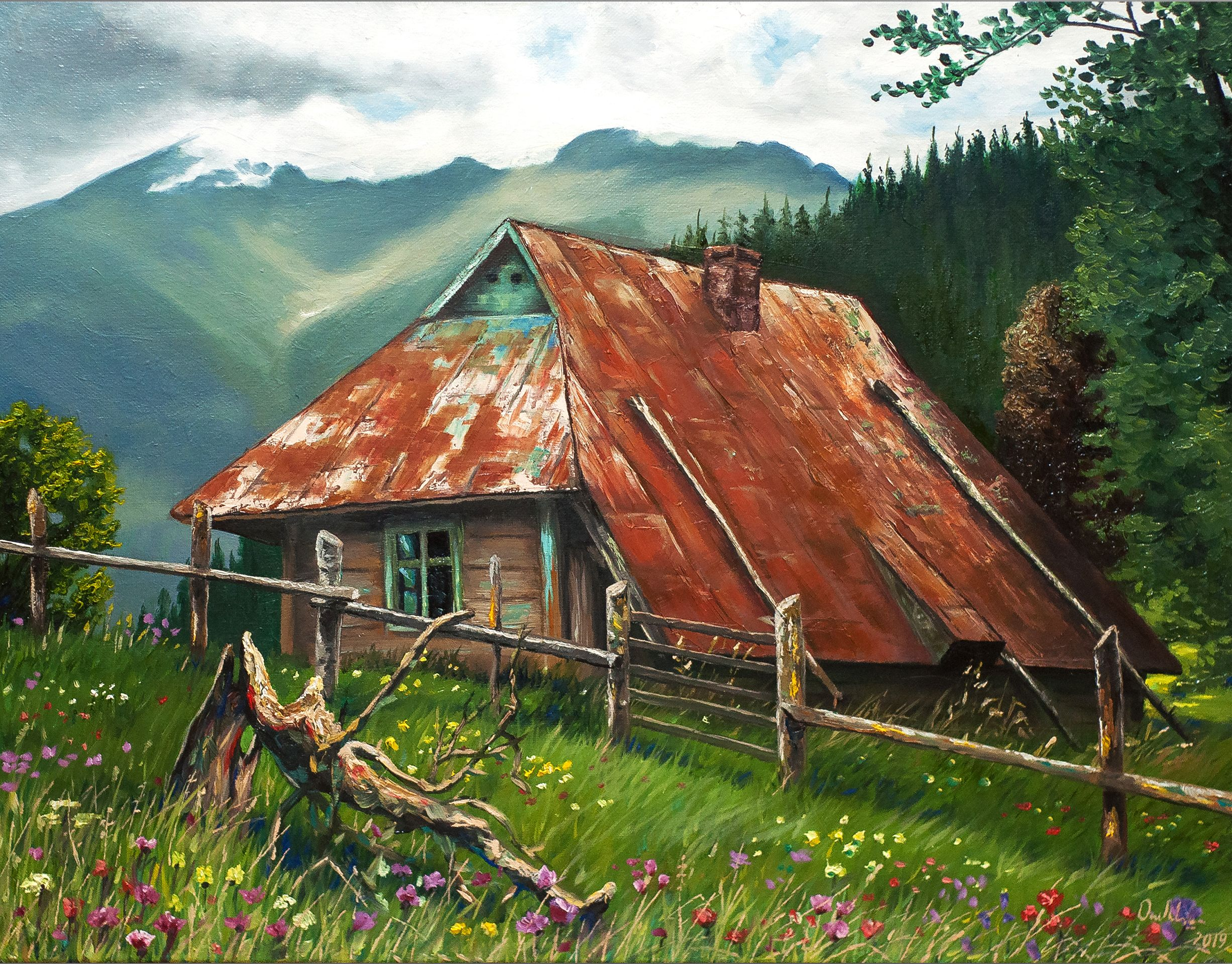 Original Mountain House Oil Painting Carpathian Mountain Landscape Canvas Oil Art Custom House Portrait Mountain In 2020 With Images Mountain Landscape Landscape Spanish Decor