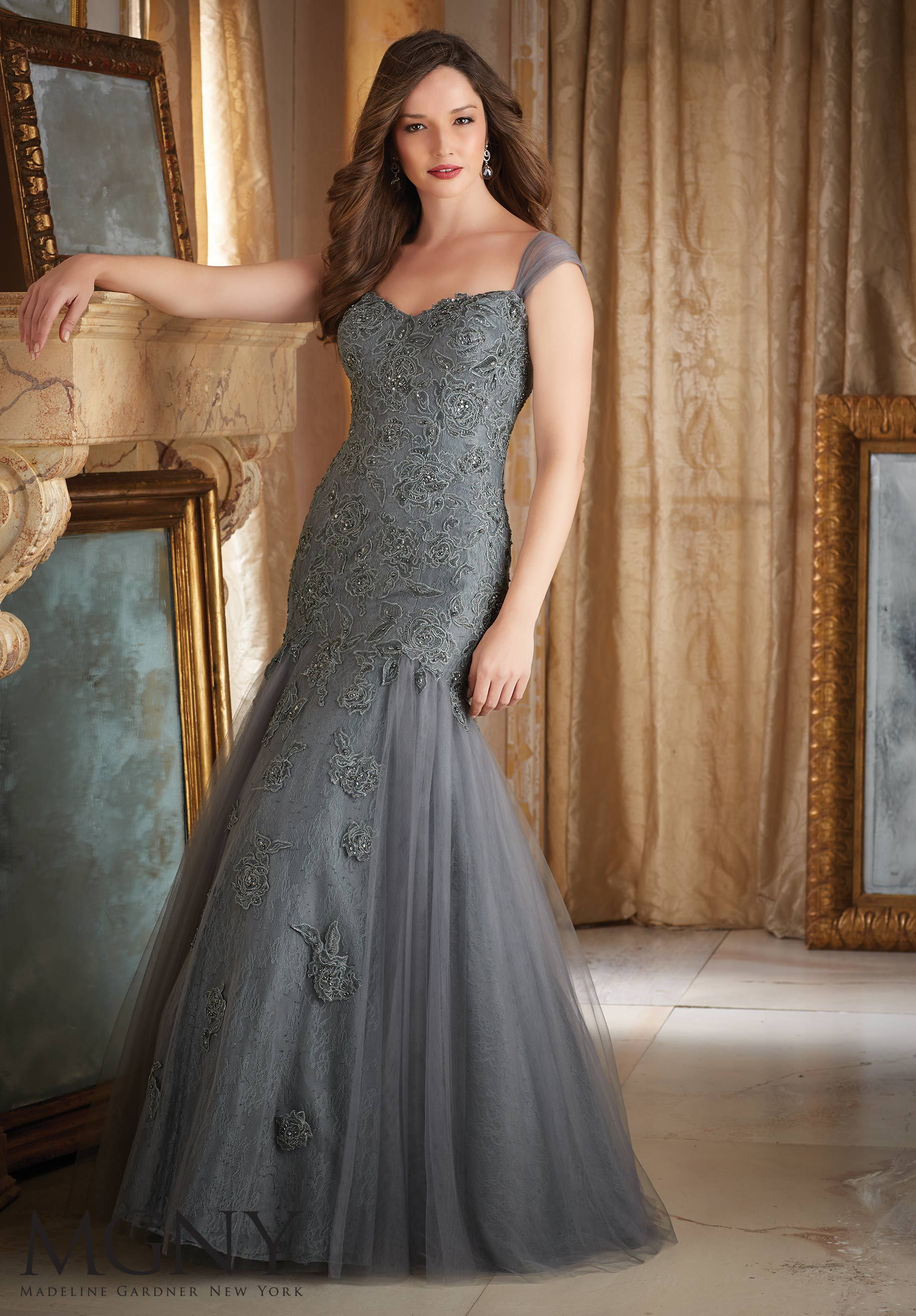 Beaded Embroidery on Tulle Mother of the Bride Dress Designed by Madeline Gardner. Colors available: Charcoal, Aubergine