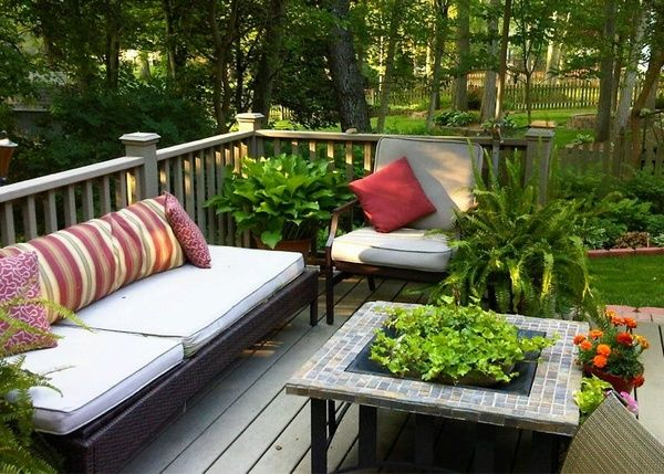 Nice going DIY Target furniture, homemade pillows, repurposed fire pit to a coffee table and planter garden-inside-and-out