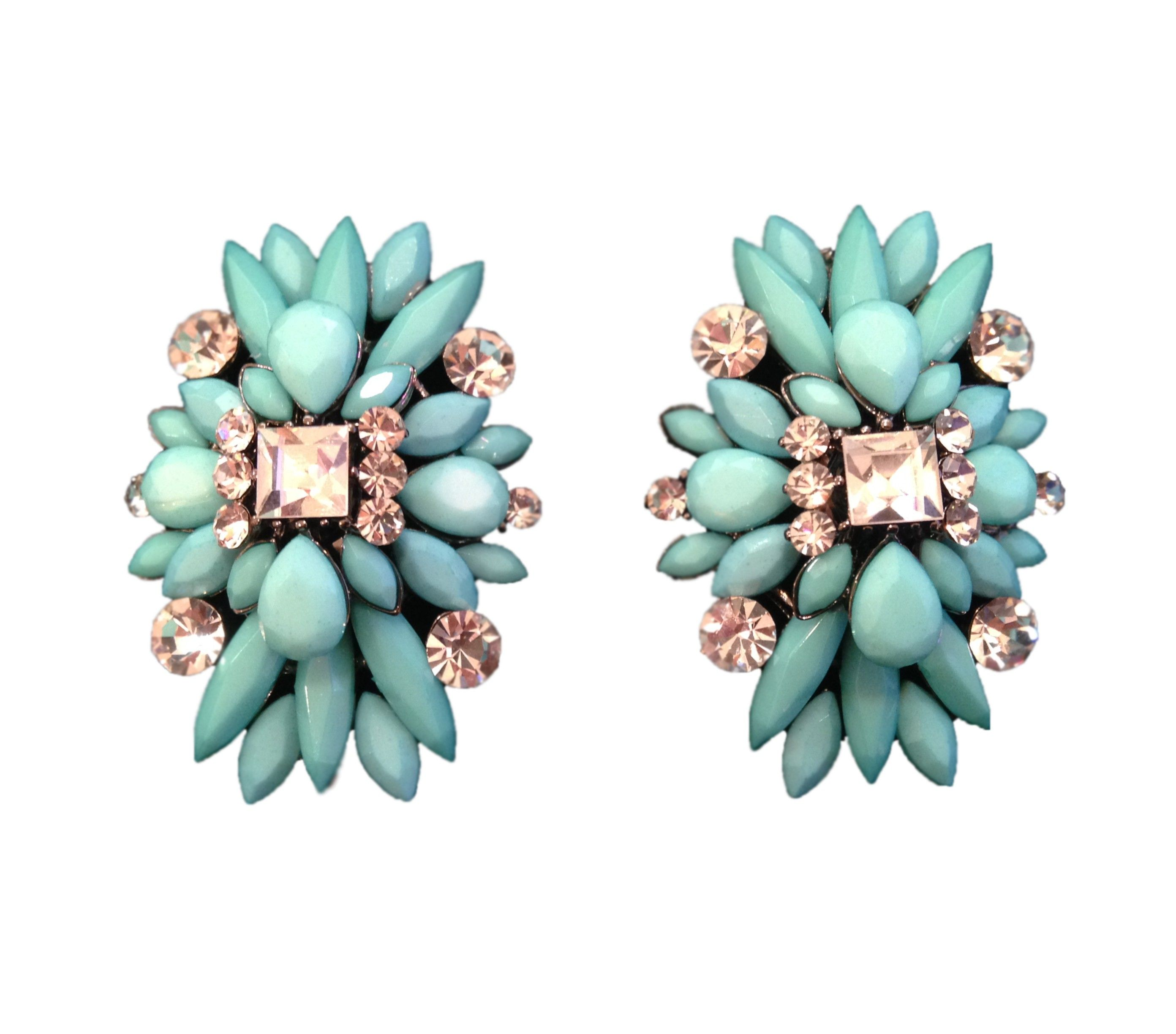 Turquoise & Swarkovski Crystal Statement Earrings