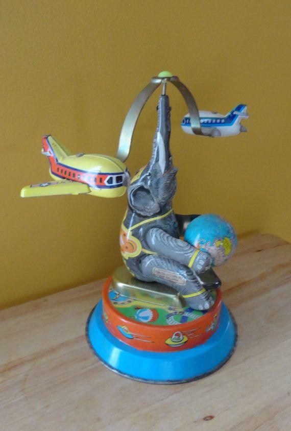 Vintage Tin Toy Elephant N Airplane Carousel by tennesseehills, $24.00