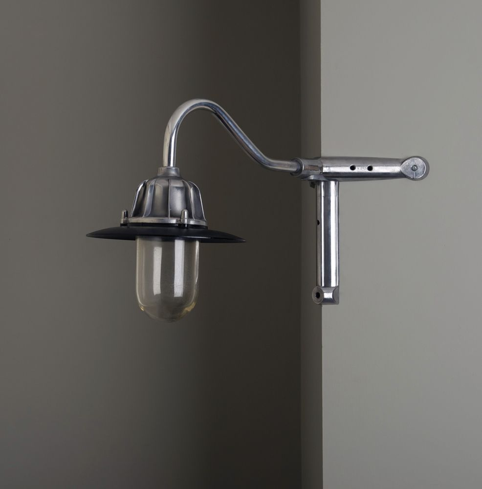 Commercial Lighting Glasgow: Vintage British Swan Neck Wall Light With Glass Dome And