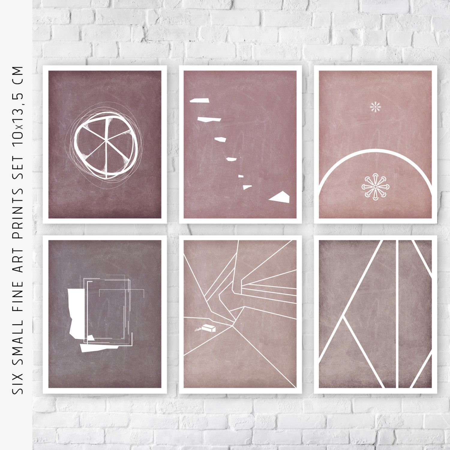 Set of small prints pink color minimalist bedroom new home gift