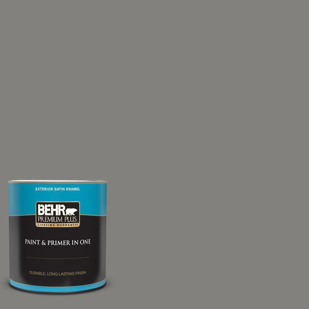Behr Premium Plus 1 Qt Bnc 25 Gray Pepper Satin Enamel Exterior Paint And Primer In One In 2020 Behr Premium Plus Behr Primer