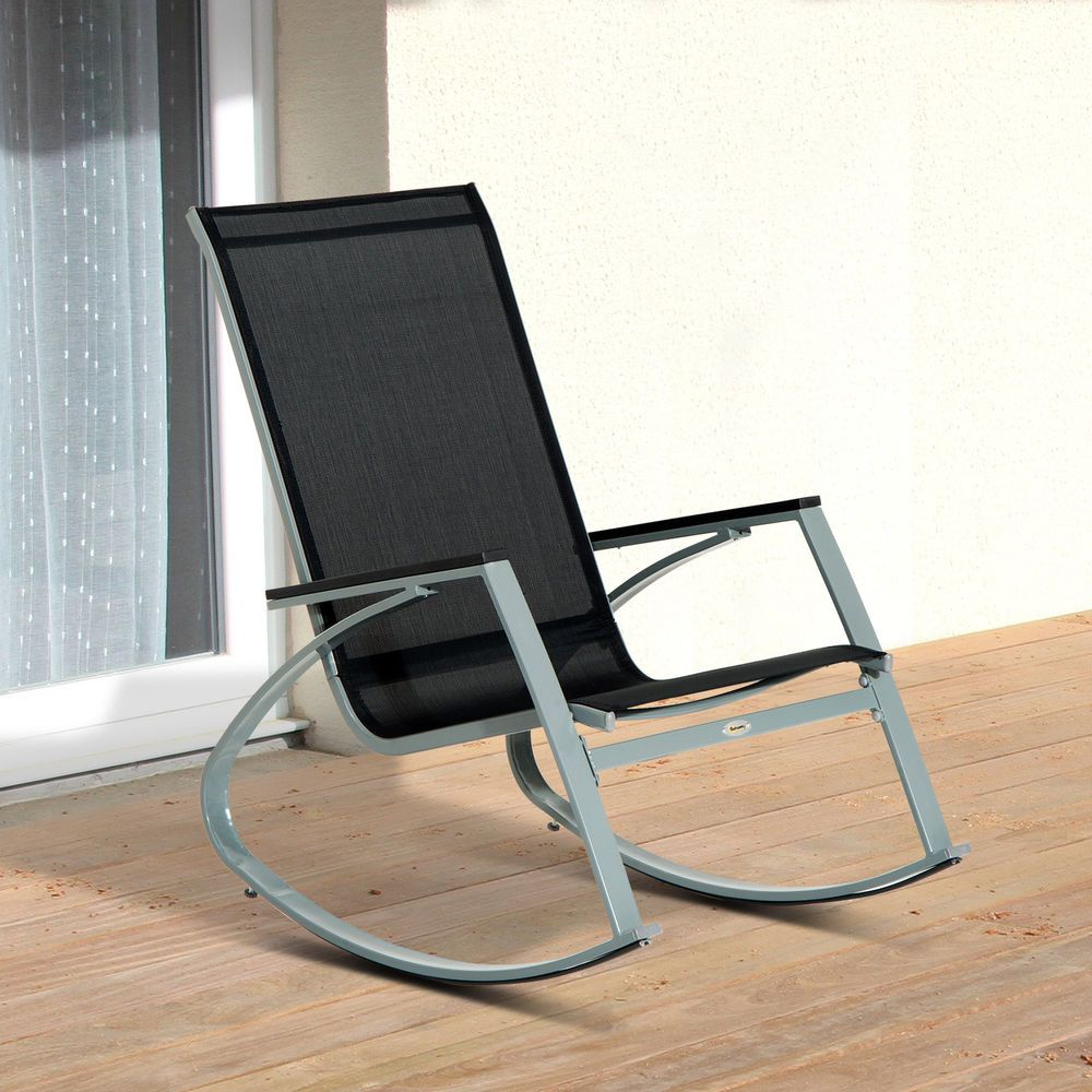 Outdoor Rocking Chair Steel Patio Furniture Mesh Seat ...