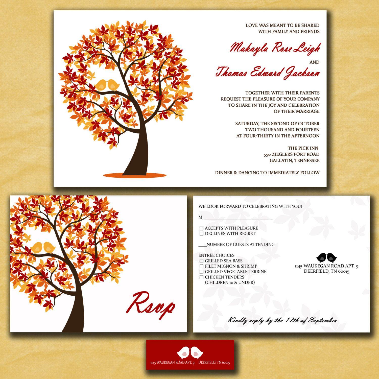 Fall Wedding Invitations Autumn Wedding Love by InvitingMoments ...