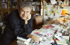 """ISTANBUL, TURKEY - DECEMBER 2004: (FILE PHOTO) Author Orhan Pamuk poses in his office on December 2004 in Istanbul, Turkey. Pamuk was born in Istanbul on June 7, 1952. He spent all his life in Istanbul, except three years in New York. After attending the architecture program in Istanbul Technical University for three years, he finished the Institute of Journalism at the Istanbul University. He started writing regularly in 1974. Pamuk, who faces trial next month for the """"public denigration of…"""