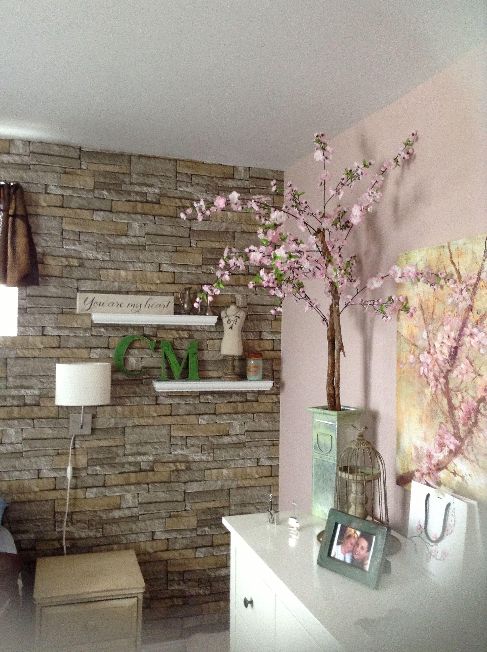 Love my new bedroom! Brick wallpaper ( easy to do) cherry