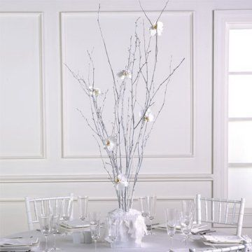White Birch Decorations Branch Centerpieces Winter Centerpieces White Wedding Flowers