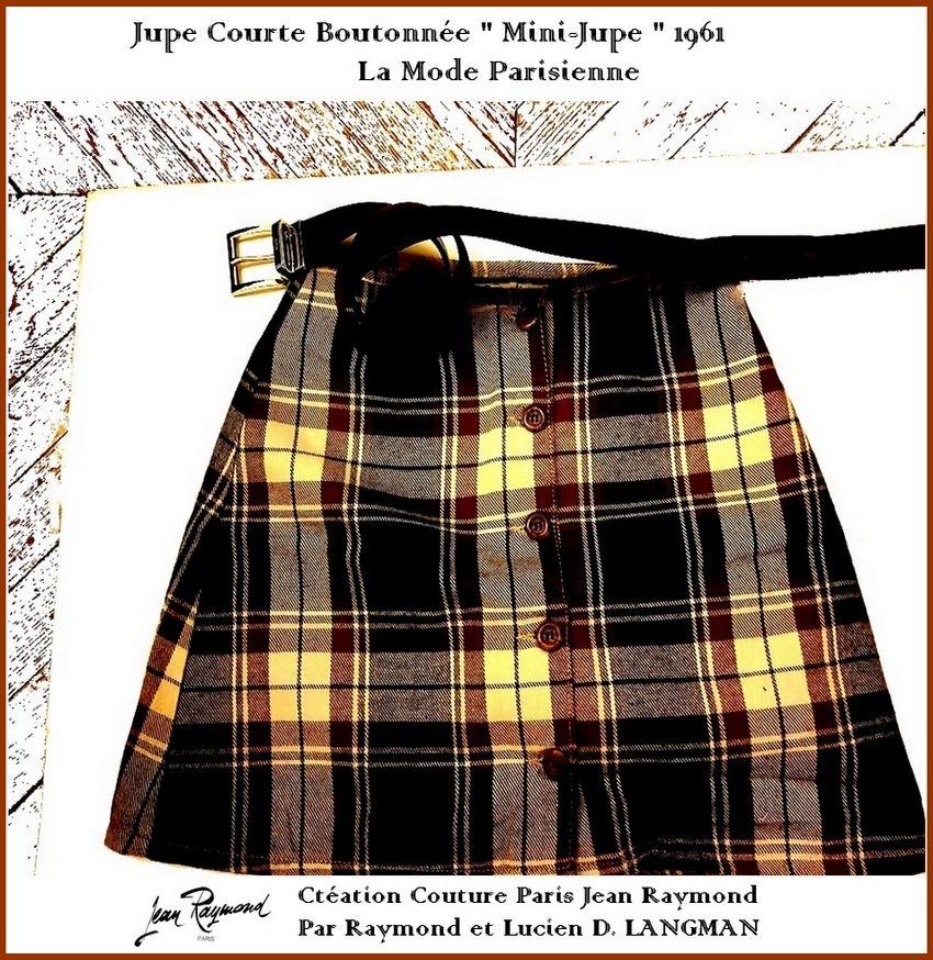 Jupe Courte Mini Jupe Bistre Ouverture Boutonnee Sur Le Milieu Devant Par Raymond Et Lucien D Langman Maitres Ta Mini Jupe Haute Couture Hommes Mini Robe