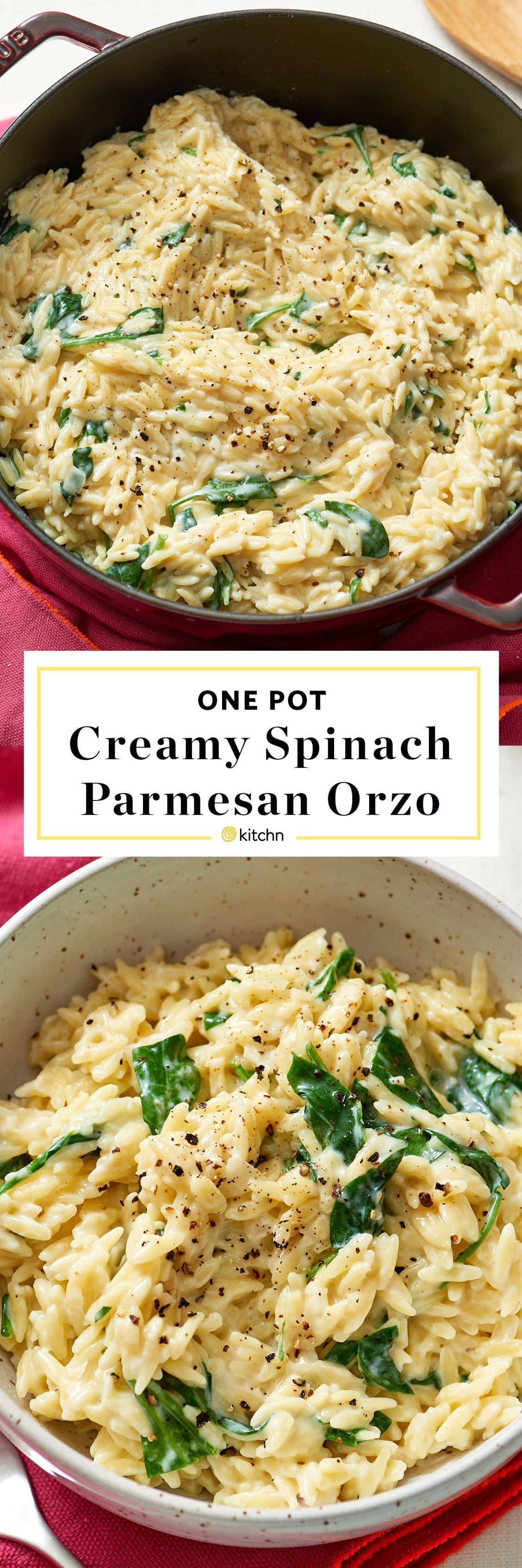Parmesan Orzo One Pot, Pan, or Dish Creamy Spinach, Parmesan & Orzo Pasta Recipe. Need recipes and ideas for easy weeknight dinners and meals? Vegetarian and perfect for a side dish or a main dish. To make this modern comfort food, you'll need: olive oil, onion, garlic, orzo, chicken or veggie/vegetable broth, milk, baby spinach or ot...