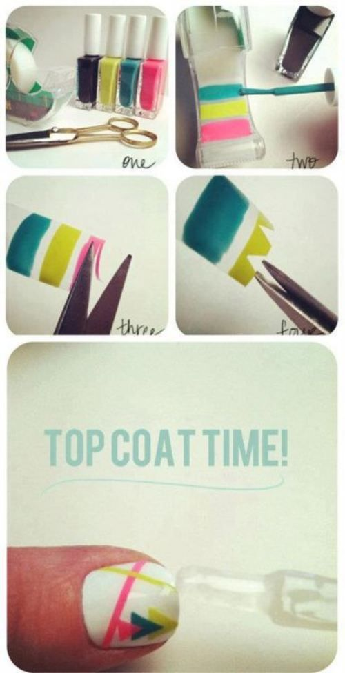 How Cool Is This Nail Art With Painted Scotch Tape Nails