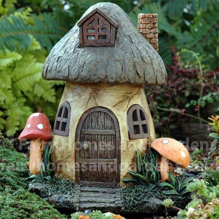 Solar Mushroom Fairy House Clay Fairy House Miniature Fairy
