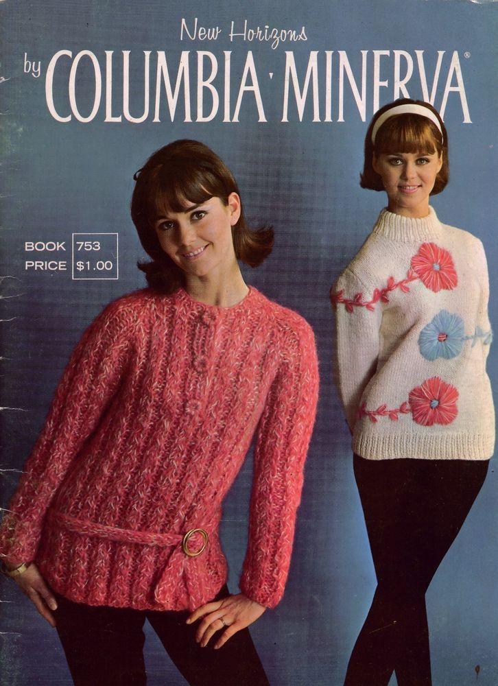 Vtg Knitting Patterns Columbia Minerva Bulky Sweaters Jacket Fair ...