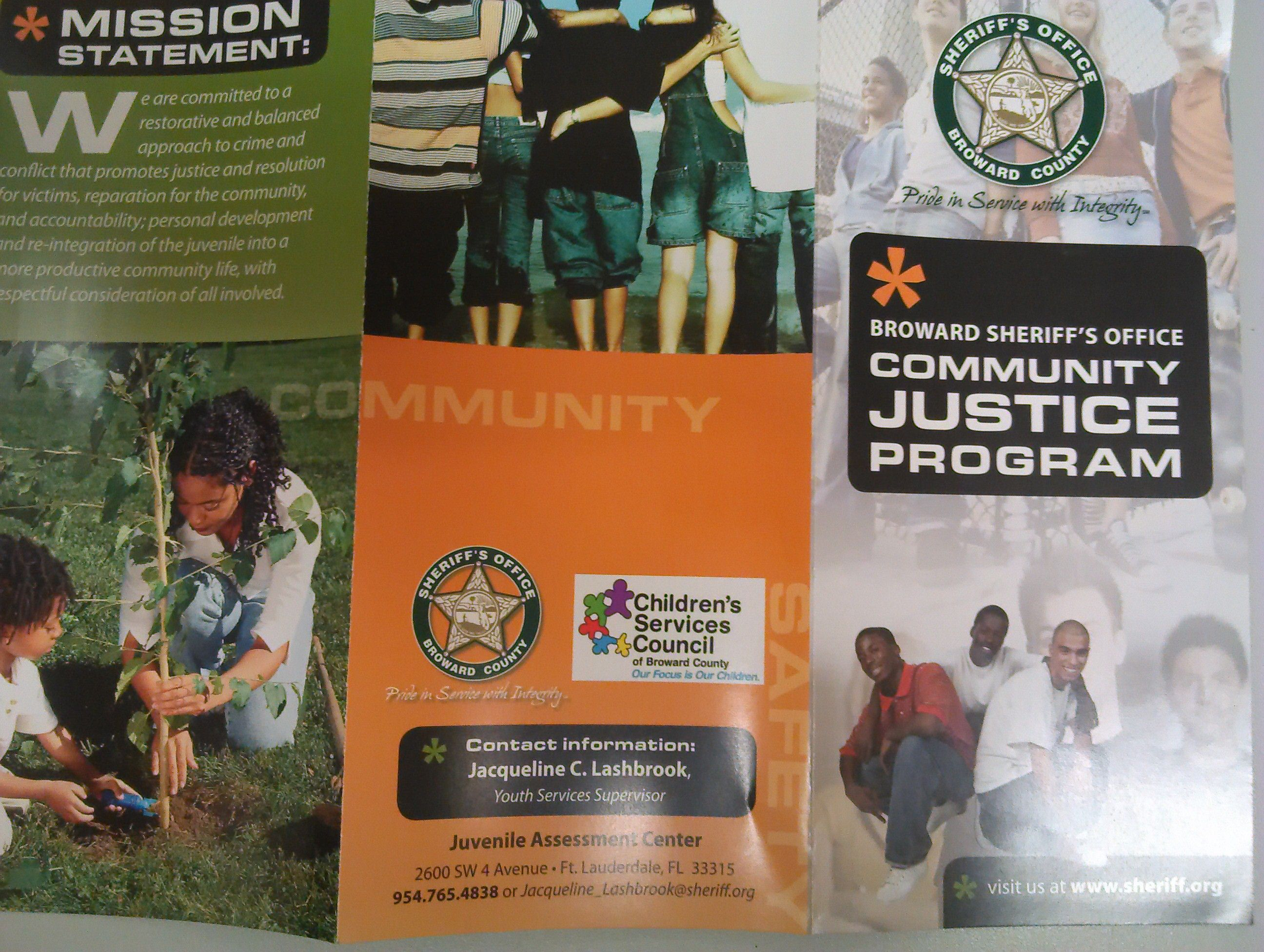 Community Justice program pamphlet that was given to me upon departure