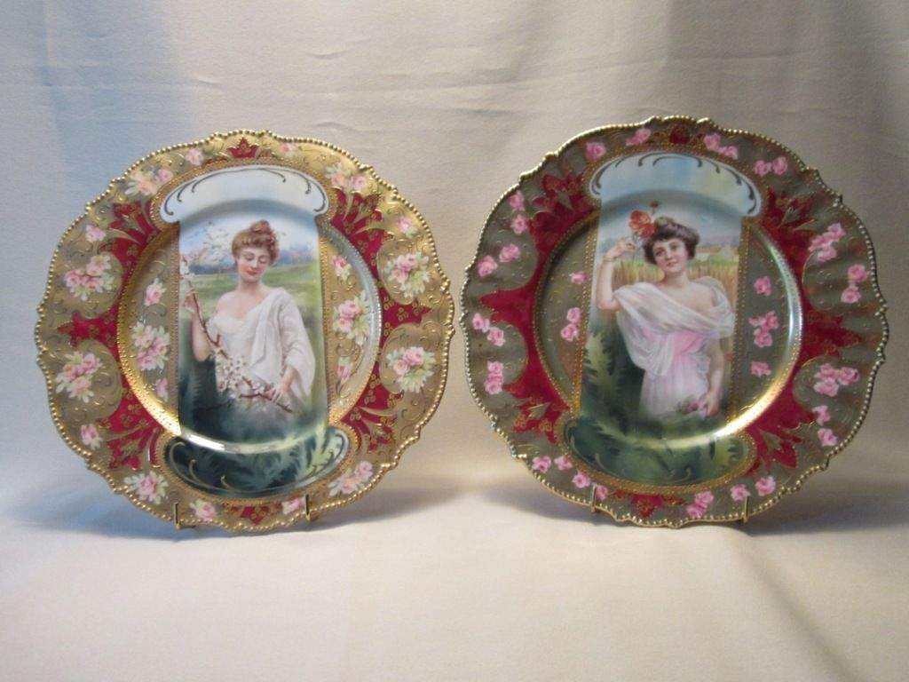 Plates with the R. S. Prussia hallmark (the red wreath and star mark) on their reverse sides. These two represent spring and summer. - http://www.worthpoint.co.uk/2012/01/portraits-on-porcelain-actual-and-allegorical-images-on-antique-china/