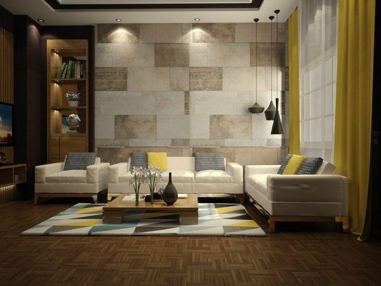 Idée couleur salon : salons modernes aux accents jaunes | déco salon ...