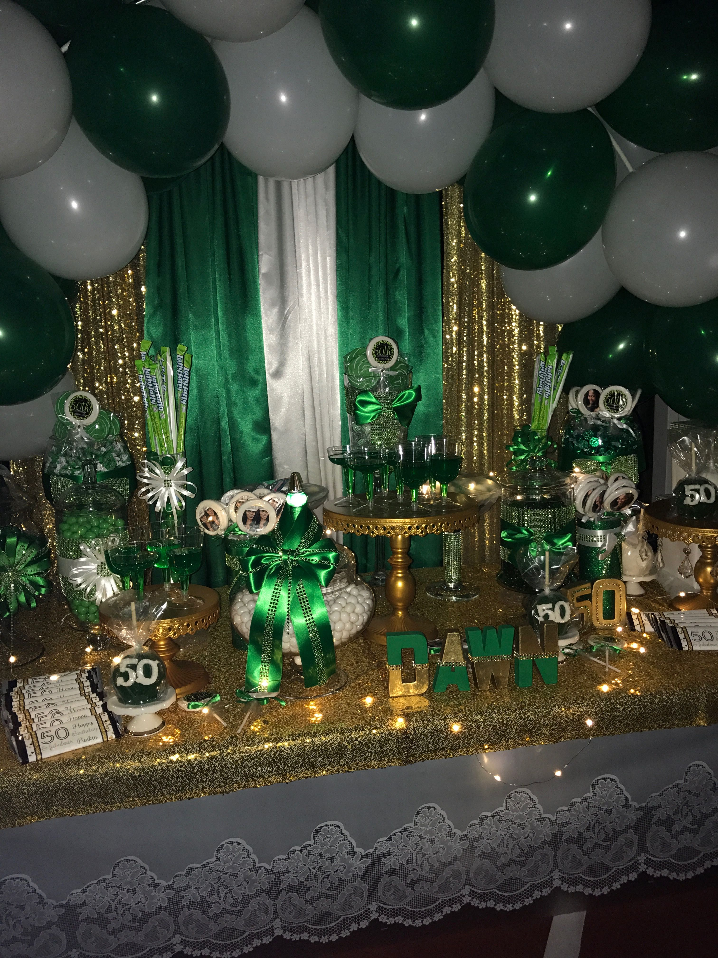 Green White And Gold 50th Birthday Gold Birthday Candy Station