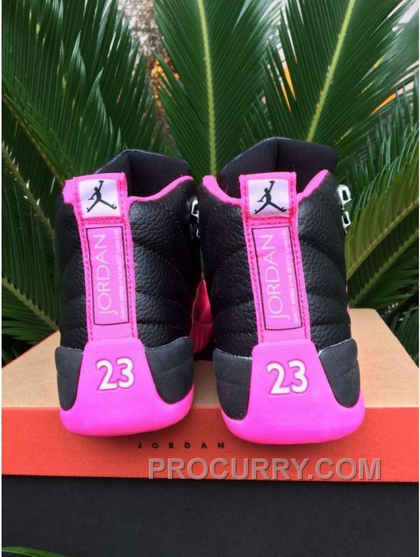 c5ef0cdae60045 2016 Air Jordan 12 GS Black Pink Shoes Hot in 2019