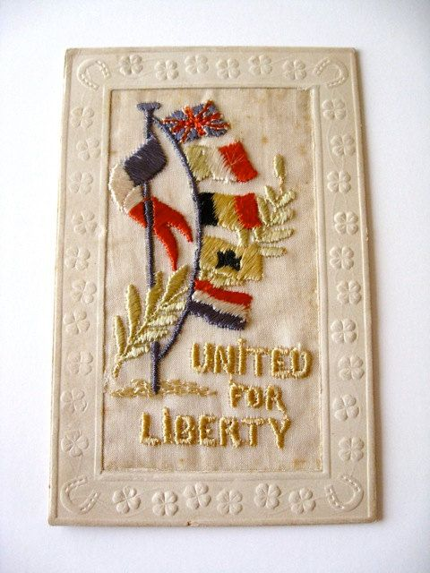 FRENCH  WW1 Vintage  Stitched Postcard United for Liberty