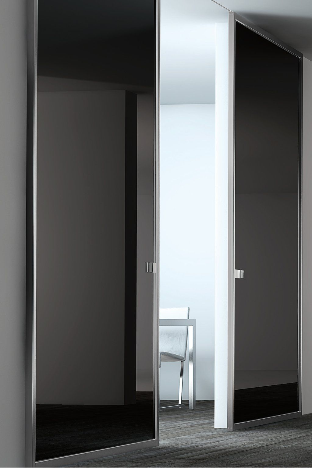 Black lacquer glass panel door stainless steel by for Black sliding glass doors