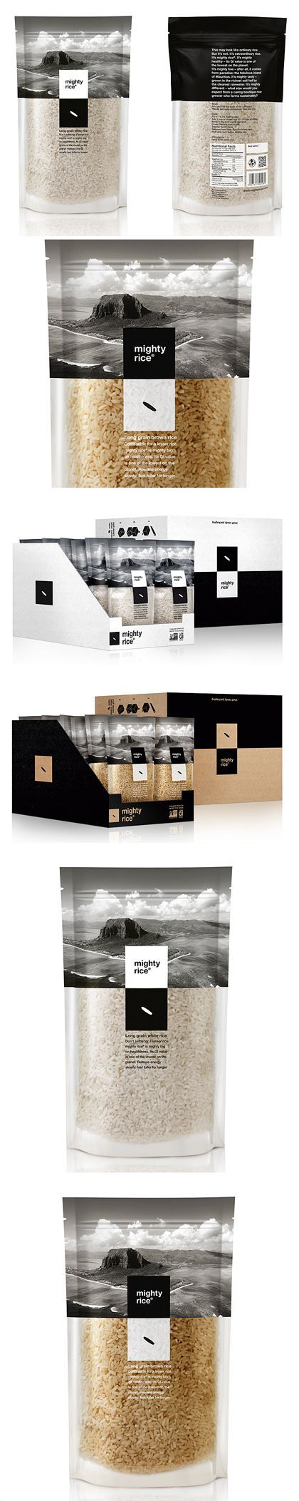 Mighty Rice : Simple, Duo-chromatic Packaging. I have never seen rice packaged like this before 0.0 I love the black and white design, and the size. Each packet for me would last about a week, so I like that each packet should be fresh: