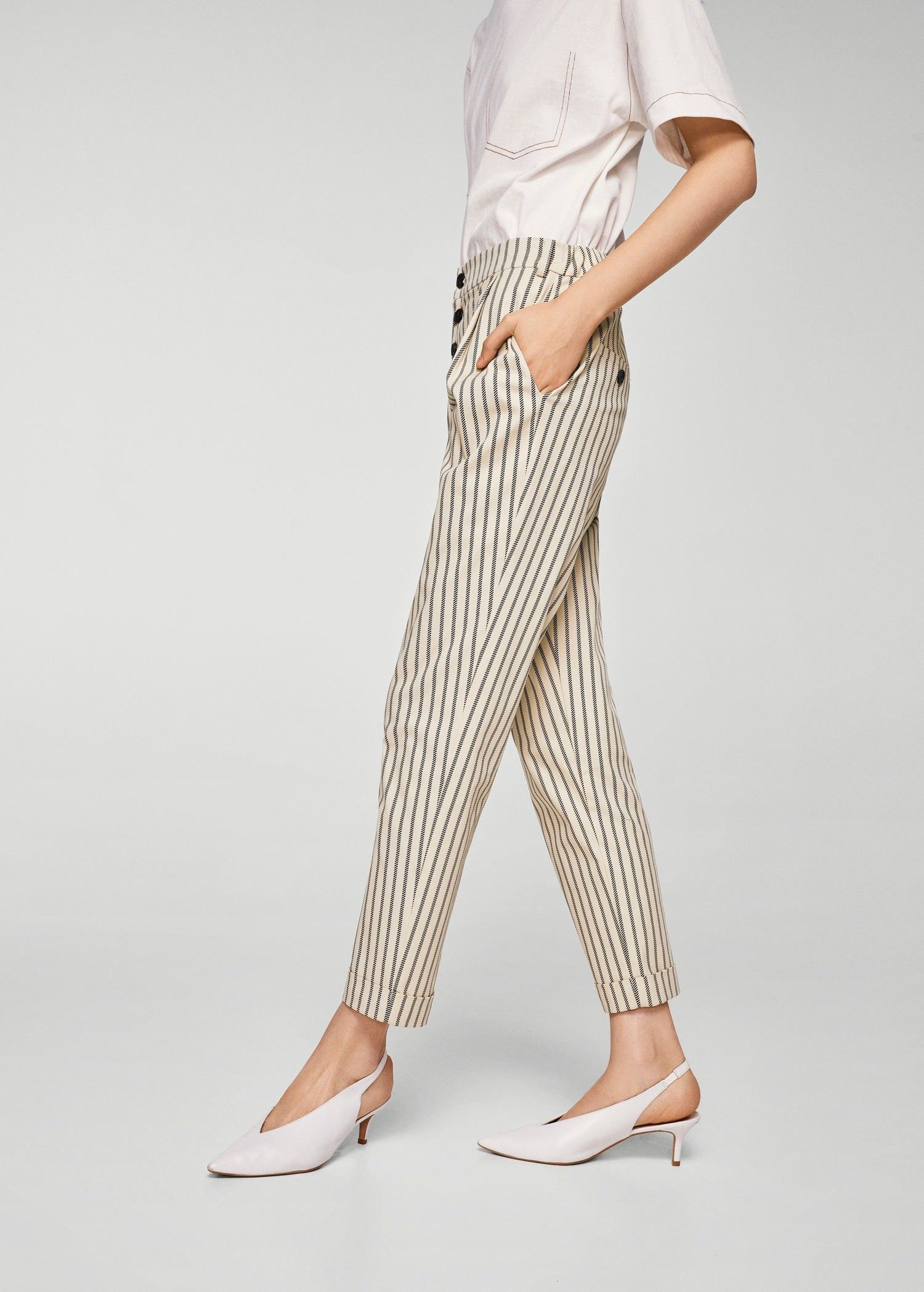 3198a42c61 Mango Straight Striped Trousers - Women