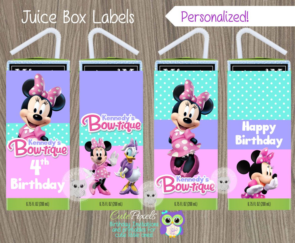 Minnie Mouse Juice Box Labels, Minnie Mouse Bowtique, Minnie Bow-tique, Minnie Mouse Party, Minnie Mouse Birthday, Minnie Bow-tique label by CutePixels on Etsy