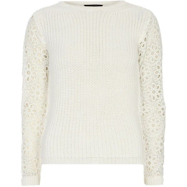 Dorothy Perkins Broderie Sleeve Jumper ($23) ❤ liked on Polyvore ...