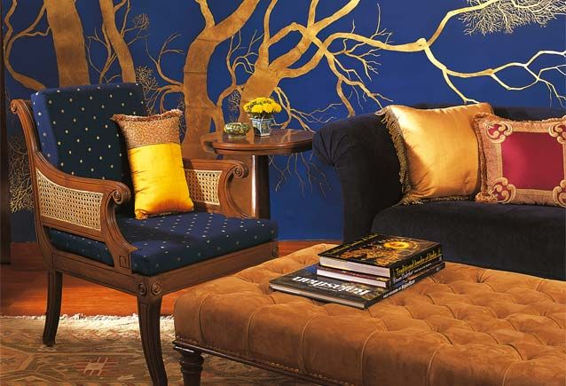 Gold Leaf Trees in the Library Bar at the Oberoi Vanyavilas (India)