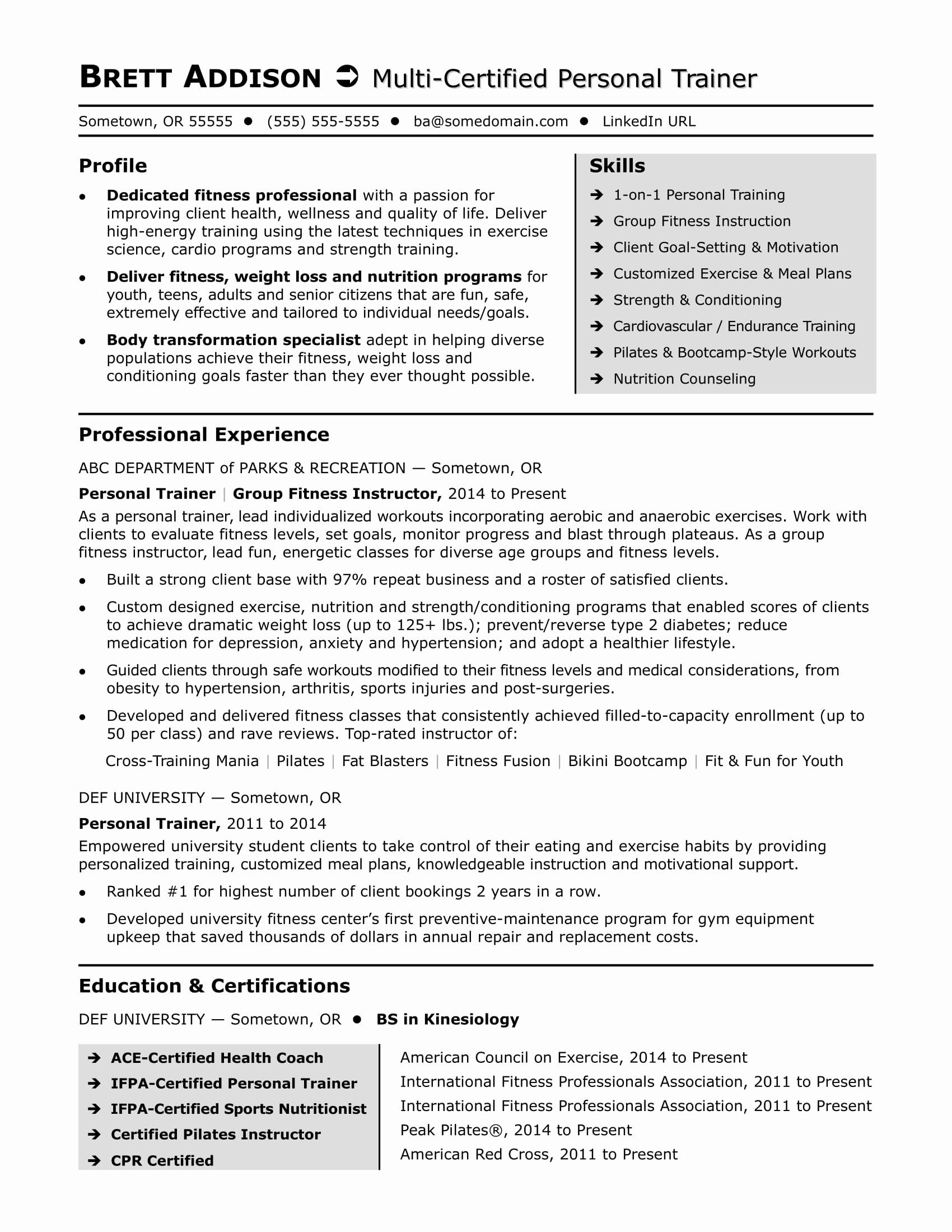 personal training resume examples