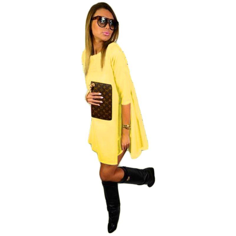 Barato Amarelo verde rosa meia manga vestido largo ocasional ampla cintura folgada diárias alargamento do pescoço da colher outono tamanho 2015 mais mulheres, Compro Qualidade Vestidos diretamente de fornecedores da China:                       RU tamanho  US tamanho  Tamanho (cm/polegadas)  Ombro  Busto  Cintura  Hip  Mang