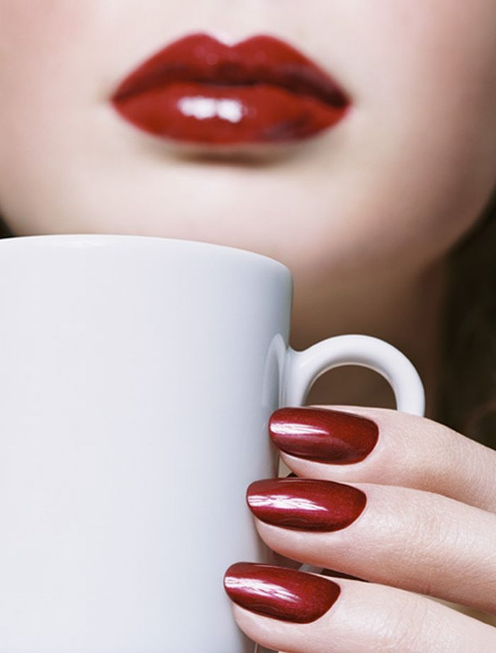 Red Lips Red Nails Coffee Coffee Love Coffee Lover I