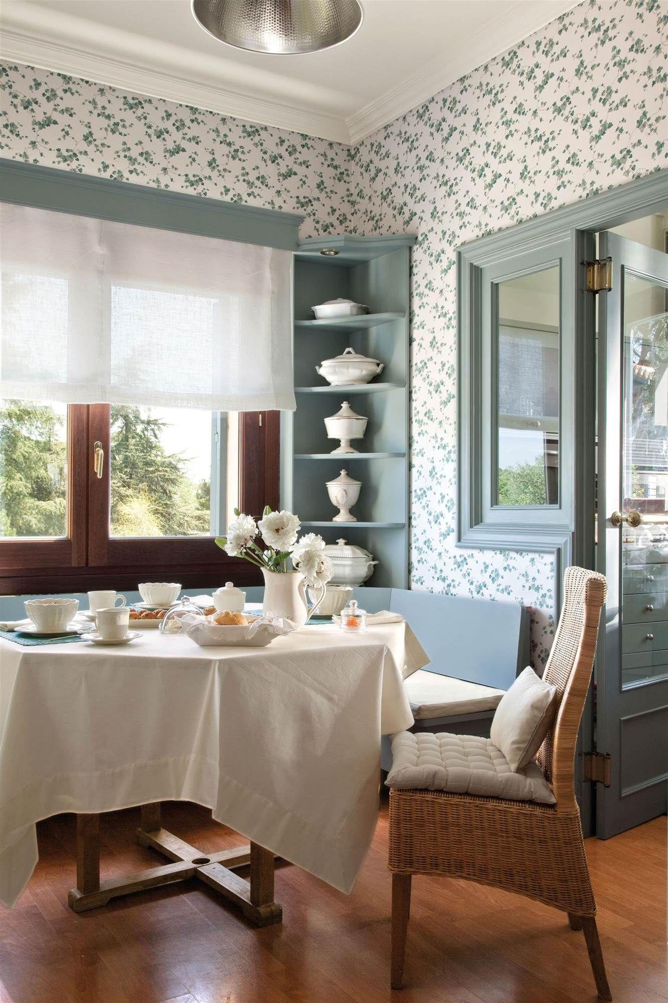 cocina con papel pintado y marcos pintados_00276446   Papel pintado ...