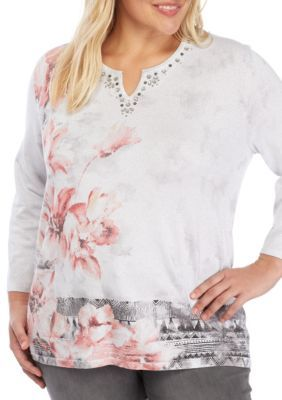 05e401b58ee Alfred Dunner Women s Plus Size Lakeshore Drive Asymmetrical Floral Sweater  - Multi - 3X